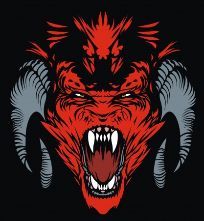decal: nice red devil on the black background