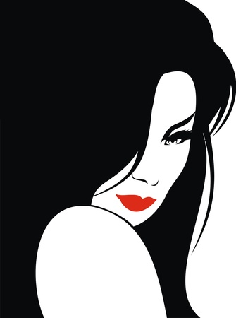 very nice girl from my dreams on the white background Vector