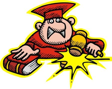 prosecutor: giudice in rosso isolato su sfondo bianco