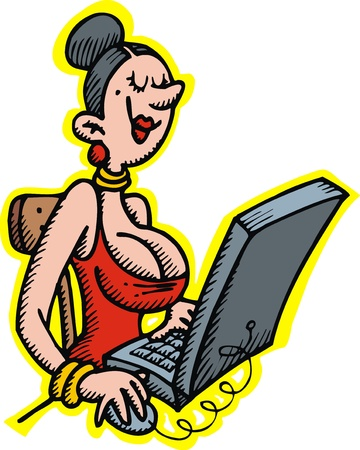 busty: lady and notebook isolated on the white background Illustration