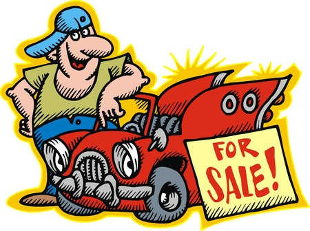 car for sale: man and his red car for sale