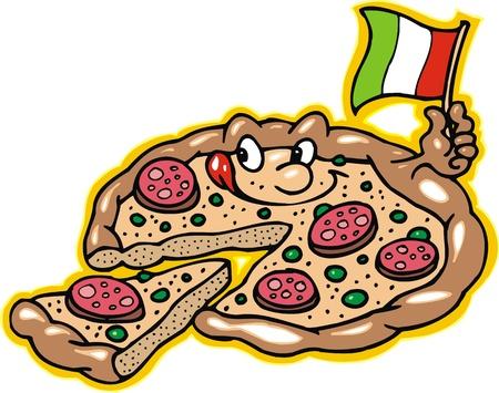 mozzarelle e formaggi: la pizza � sorridente isolato su sfondo bianco
