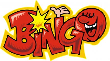 bingo: texto divertido bingo aislado en el fondo blanco