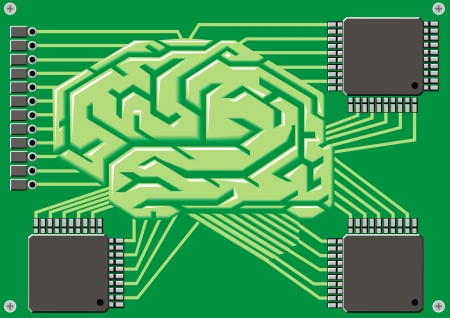 ic: brain as motherboard on the green background Illustration