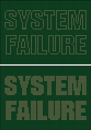 cryptogram: illustrated system failure as interesting green background