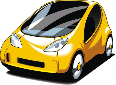 small car: yellow small car design isolated on white background