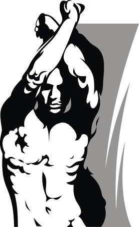 male model torso: illustrated sad single man on the white background