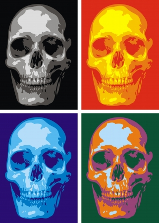 nice human skull in four versions as background Stock Vector - 20778254