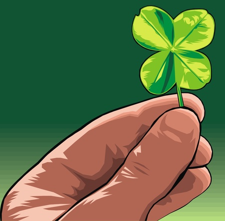 green four leaf in human hand as nice background Stock Vector - 20778267