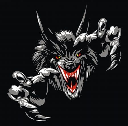 predator: illustrated wolf devil on the black background