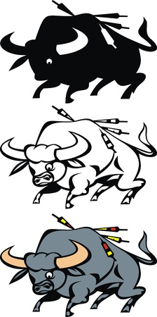 vue: western bull in three versions isolated on white background