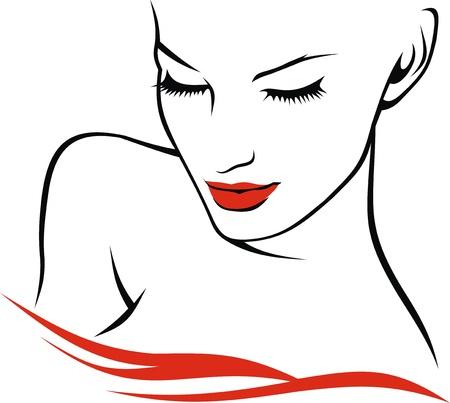nice face of girl on the white background Ilustracja