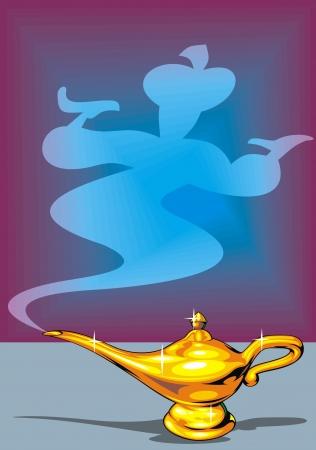 lampada magica: illustrato oro Aladdin