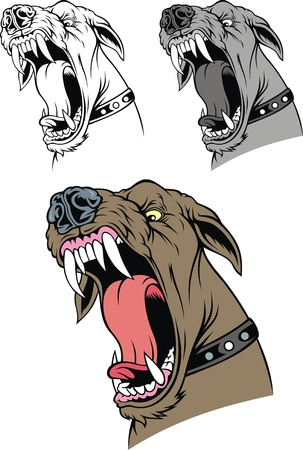 illustrated aggressive dog in three version isolated on white background Illustration