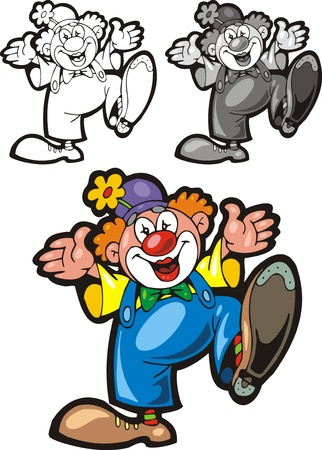 illustrated nice clown in three versions as background Stock Vector - 20943582