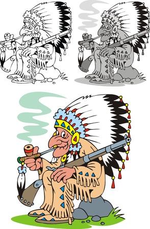 bel capo indiano isolato su sfondo bianco Vettoriali