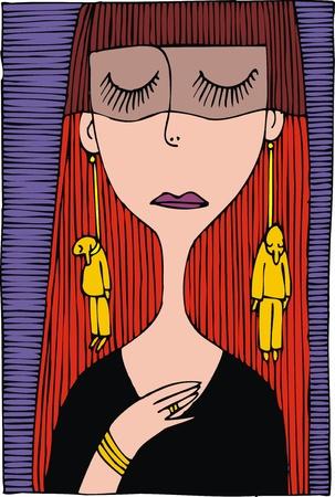 érdekes: illusztrált arcát a nő mint érdekes háttér