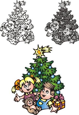 childern: nice xmas tree isolated on white background Illustration