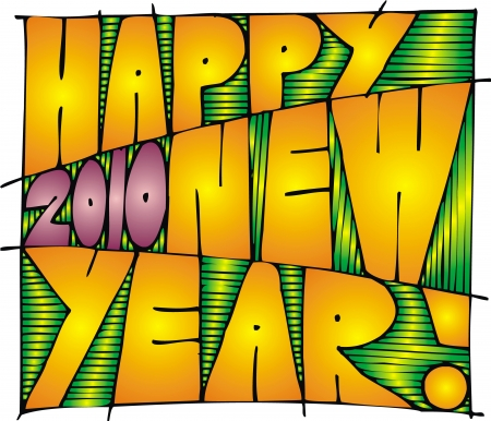 mooie achtergrond: geïllustreerd Gelukkig Nieuwjaar 2010 als mooie achtergrond