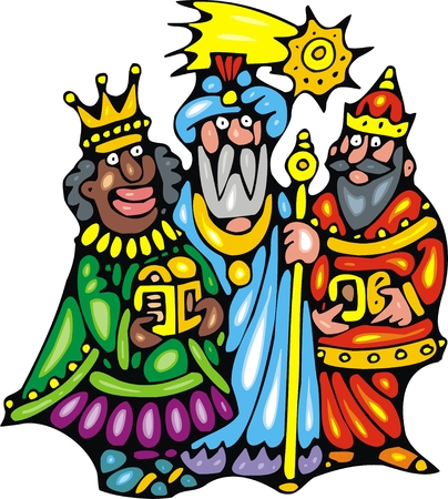 nice three kings isolated on white background Vector