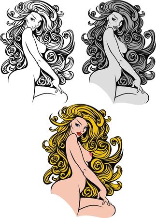 nice naked woman isolated on white background Illustration