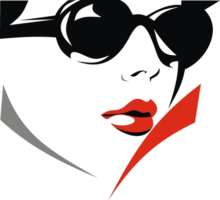 face of nice girl with sunglasses on the white background