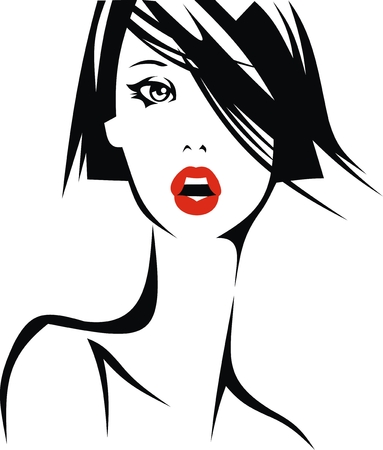 face of nice girl isolated on white background Stock Vector - 23303099
