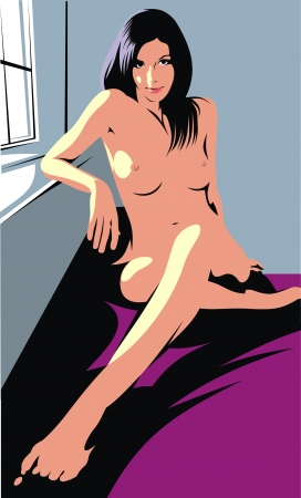 adult nude: illustrated nude girl as nice colored background