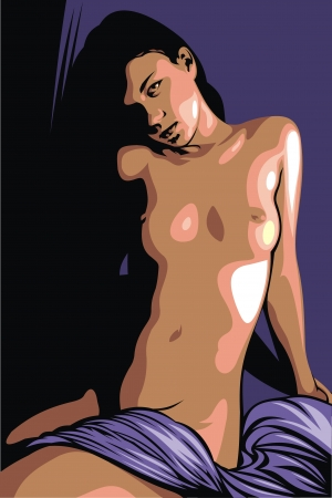 boobs: illustrated naked woman as nice colored background