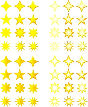 set of stars isolated on white background Stock Vector - 24285490