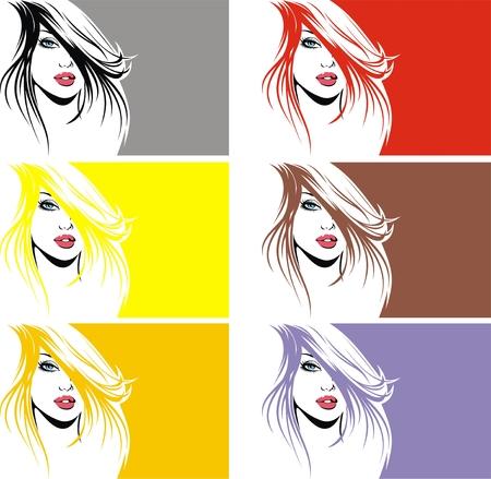 black hair blue eyes: nice girl face in many colors as wellnes banner Illustration