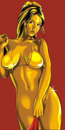 sexy girl in bikini in gold color as great vector art