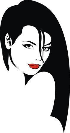 pelo rojo: linda chica joven con los labios rojos como fondo