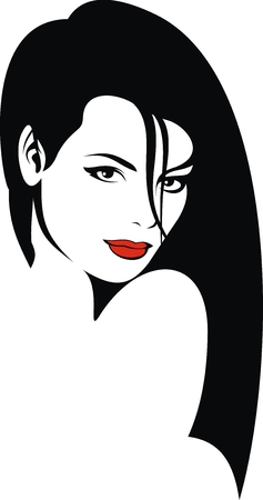 lips smile: nice young girl with red lips as background Illustration