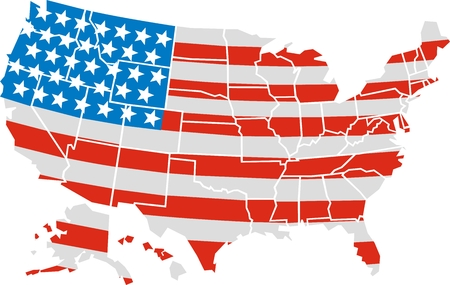 USA map and flag isolated on white background Vector