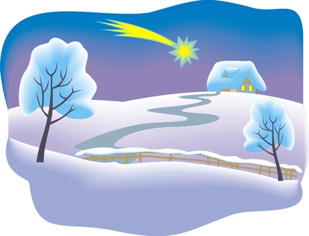winter christmas country as nice snowy background Illustration