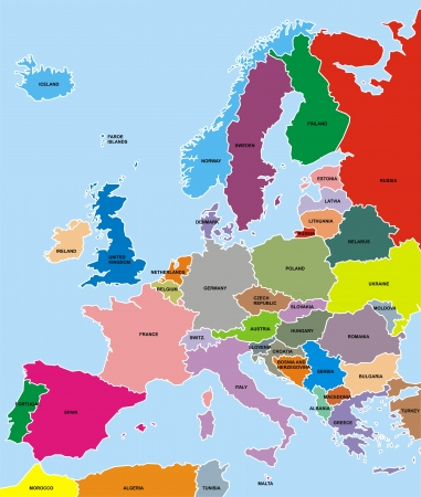 european maps: colored europe map on the blue background