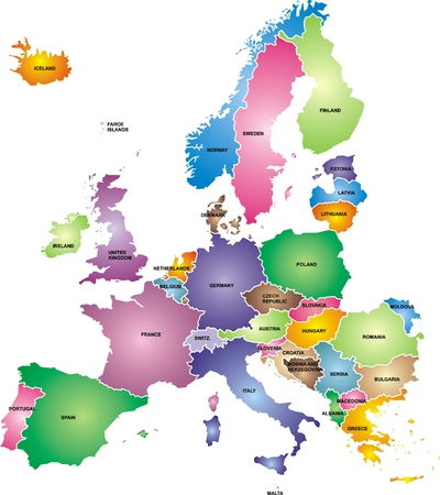 nice colored europe map isolated on white background
