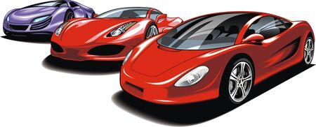 exotic car: sport cars isolated on the white background Illustration