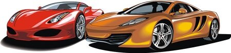 exotic car: modern sport cars isolated on the white background Illustration