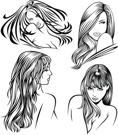 heads of nice girls on the white background Vector