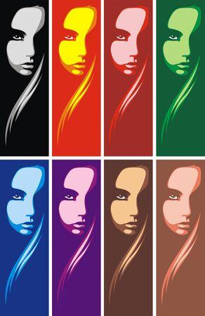 mooie achtergrond: hoofd van meisje in verschillende kleuren als mooie achtergrond Stock Illustratie