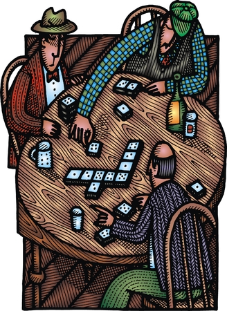 restauration: illustrated old men play bingo as background