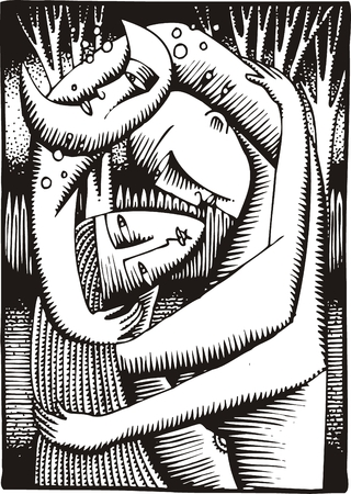art illustration sweet kiss as interesting background