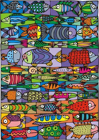 érdekes: illusztrált szép halat érdekes színes háttér