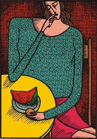 watermelon woman: illustrated abstract nice woman as interesting background