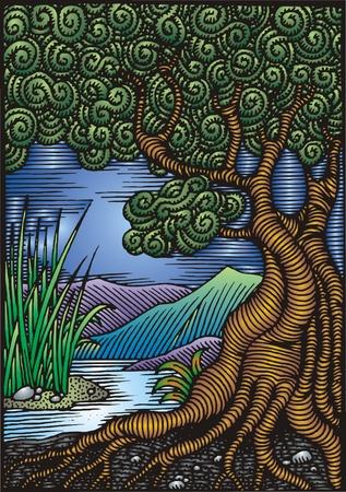 érdekes: illusztrált színes magas fa, mint érdekes háttér