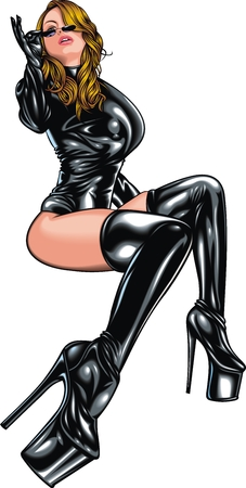 sex lady in the black leader isolated on the white background Vectores