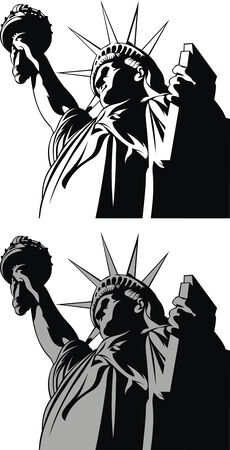 rough draft: statue of liberty isolated on the white background