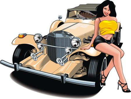 nice girl and my original designed old car isolated on the white background